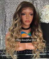 Wholesale Ombre Brown to Blonde Glueless Silk Top Full Lace Wigs inch Density Brazilian Human Hair Body Wavy Lace Front Wigs