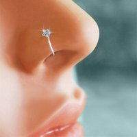Wholesale Small Thin Flower Clear Crystal Nose Ring Stud Hoop Sparkly Crystal Nose Ring