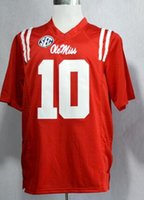 Wholesale New College Football Jerseys Ole Miss Rebels Jersey Red Color Size S XXXL Stitched Mix And Match Order Hot American Football Jerseys