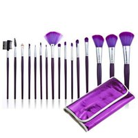beauty makeup bag - 16 High Quality Beauty Purple Makeup Brush Sets Professional Beauty Makeup Brush Kits Portable Style Soft Bag Makeup Brush