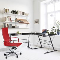 Wholesale IKAYAA Modern L shaped Corner Computer Desk PC Laptop Table Office Workstation Tempered Glass Top KG Load Capacity US STOCK H16907