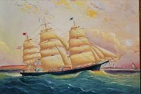 baroque oil paintings - PORTRAIT OF OLD USA TALL SHIP LARGE PAINTING BAROQUE Pure Hand painted Seascape Art oil painting On Canvas in any size customized