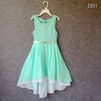 Wholesale Summer Girl Dress Princess Rhinestone Belt Hollow Lace Chiffon Party Dresses For Girls clothes Size Y vestido infanti