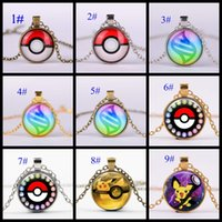 Wholesale Poke Pokémon Pikachu pendant necklace styles fashion cartoon necklaces alloy round pendants new latest design Christmas gifts