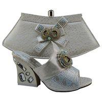 big handbags on sale - Hot sale big rhinestone and bowtie women pumps african shoes match handbag sets for party GF49 silver heel cm