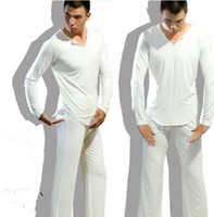 bath clothes - Men s Yoga Twinset Tops pants Comfortable Ice Silk Fabric Sleep Sleepwear Causal Home Family Pyjamas Night Bath Clothes Sweater