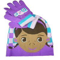 Wholesale Doc McStuffins Doctor Girls Kids Hat Gloves Pieces Set Girls Winter Gloves Mittens Boys Girls Hats Caps