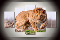 animal coloring pictures - 5Pcs With Framed Printed African lion Painting children s room decor print poster picture canvas coloring by numbers