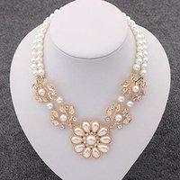 bid gold - 1Pc Stunning Charming Pearl Crystal Pearl Flower Bid Choker Necklace C00181 CAD