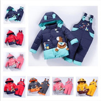 Wholesale Children boys and girls winter warm down jacket suit set thick coat jumpsuit baby clothes set kids jacket animal Horse
