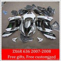 Wholesale Black White Ninja ZX R Fairing Kits Of Kawasaki Ninja ZX R ZX6R Motorcycle ABS Fairings OEM Original Painting