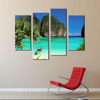 art gallery oil paintings - 4 Picture Combination Blue Art Gallery Painting Ko Tao Thailand Small Bay Light Green Sea Water Mountain Print On Canvas