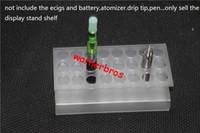 acrylic pencil holders - 2pcs USA mm acrylic single electronic cigarette pen display stand shelf Clear ecig ego Pencil Display Holder Makeup brush