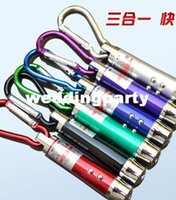 Cheap 3 in 1 5 mw Laser Pen Pointer + Mini LED FlashLight Torch Flashlight +Emergency Keychain Free DHL