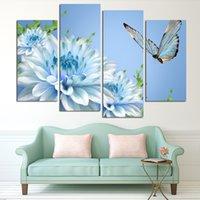 Дешевый Большая работа панели-4 панелей синий цветок хризантемы большая картина HD Картина маслом холстины Картина Современные отделки стен Гостиная (No Frame)