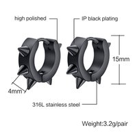 Wholesale fashion hiphop small hoop earrings stainless steel punk biker Black And Silver Color ear jewelry for women men accessories
