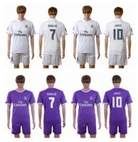 Pedometers soccer uniforms - 2016 Real Madrid Home WhiteAway Purple Soccer Jerseys RONALDO KROOS JAMES BALE Soccer Sets Men s Soccer Uniforms with Shorts