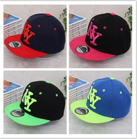 Wholesale High quality Kids NY Snapback Hot children boys girls NY letter Embroidery Cotton Baseball Cap Boys Girls Snapback Caps Hip Hop sun Hats