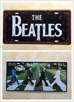 Wholesale 2PCS THE BEATLES Road Music Metal Tin Sign License Plate Man Cave Home Bar Wall Decor Plaque Art Poster