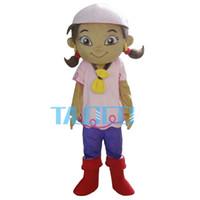 Mascot Costumes batik hair - Girl Pink Hair Plush Cartoon Character Mascot Costume Fancy Dress EVA
