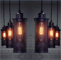 barrel country - lamp fixtures Pendant Edison Bulb American Country lampshade HomeIndustrial Wind Vintage Restaurant Bar Metal Iron Mesh Barrel Pendant Light