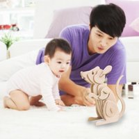 Wholesale New D Three dimensional Wooden Mouse Style Jigsaw Puzzle Toys for Children Kid Handmade Wood Nice Gift RJ P0636
