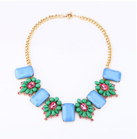 Wholesale Europe Trendy Fashion Flower With Blue Red Artificial Gemstone Necklace New Luxury Women Tennis Hot Sale Women Jewelry