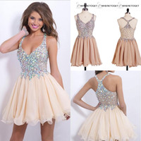 beaded homecoming dress - 2016 Shinning Rhinestones Crystal Beaded Homecoming Dresses Short V neck Cocktail Party Dress Plus Size Sparkly Prom Gowns Graduation Dress