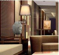 Wholesale Modern brief fabric lampshade floor lamp leather base living room bedroom guest room bedside floor light AC90 V E26