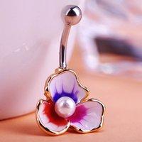 Wholesale Illuminati Esmaltes Enemal Colar Pearl Beads Flowers Piercing Navel Belly Button Rings Body Piercing Violetta Gothic Accesorries