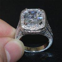 Moda 925 anillos de plata esterlina pavimentar el establecimiento de 192PCS AAA CZ 8CT cuadrados cuadrados simulado diamante joyas de la boda joyas de la boda para las mujeres