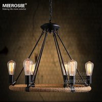 american suspension - Good QualityVintage pendant light fitting American style Rope drop lamp lustre Antique Edision bulb suspension light for Living room pendant