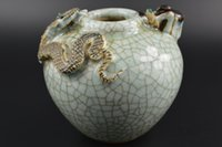 ancient chinese pots - Vintage Chinese Decoration Collectibles JINGDEZHEN Porcelain Hand Carved Snake Mouse Ancient Pot
