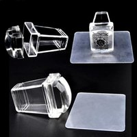 Wholesale 2Pcs SET Nail Art Stamper Clear Transparent Jelly Silicone Stamp Plastic Handle Plate Scraper Transfer Square Stamping Manicure