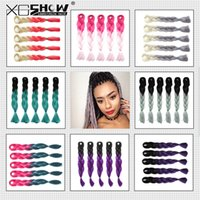Wholesale Good Quality Kanekalon Jumbo Braiding Hair Folded length inch g Black Ombre Two Tone Colored Straight Synthetic hair different colors