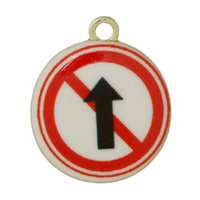 ahead sign - Charm Pendants Round Gold Plated Multicolor Traffic Sign No Entry Straight Ahead Pattern Enamel mm x mm new