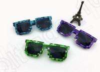 Cheap 3 color LJJK70 Mosaic sunglasses Code Programmer Pixelated 8-Bit Black Sunglasses Retro Pixelated Video game Party JJ Creeper Square Glasses