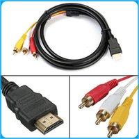 Factory Direct! 5 Feet 1080P HDTV HDMI mâle vers 3 RCA câble audio vidéo Câble AV plomb adaptateur convertisseur connecteur de câble composant Pour HDTV NOUVEAU
