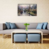 art villages - LK160 Thomas Kinkade A Village In The Rain Landscape Oil Paintings On Canvas Wall Art Modern Print Handmade On Canvas Oil Paintings For Ho
