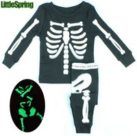 baby skeleton costume - Novelty Hallowmas Halloween costume skeleton printed children s clothes set youth toddler baby children s clothing outfits
