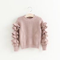 Cheap Hug Me Girls Sweater Christmas Kids Clothing 2016 Autumn Pullover Sweater Korean Fashion Ruffle Long Sleeve Sweater AA-346