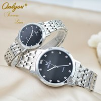 analog suit - Onlyou romantic waterproof quartz suit for men and women Lovers table stainless steel Classic watch