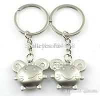 Trousseaux gros fleur Avis-Gros-FD895 doux Sourire Souris Fleur Keychain Keyring Keyfob cadeaux ~ 1 2pcs Pair ~