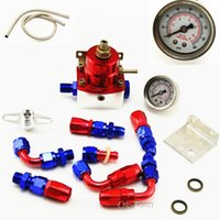 Wholesale CNC Aluminum Universal Injected Blue Fuel Pressure Regulator Kit Liquid Gauge With Oil Fitting High quality