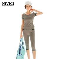 Wholesale NIVICI women s tracksuits Yoga Running sport suit bodybuilding costume for women s fitness Capris short sleeve sportswear