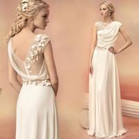 Model Pictures A-Line Bateau Long Evening Dresses 2016 Bride Princess Banquet Lace Chiffon Prom Dress Greek Goddess Elegant Backless Plus Size Formal Dress