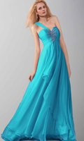 amazing maxi dress - Amazing One Shoulder Beaded Appliques Blue Chiffon Long Maxi Prom Dresses From Top Celebrity Designers