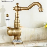Wholesale Promotion Handle Antique Brass Kitchen Sink Faucet Vanity Faucet Swivel Mixer Tap Crane Faucet banheiro F