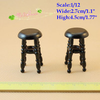 bar stools black - 1 Scale Dollhouse Miniature Bar Stool Doll House Living Room Wood Furniture stools