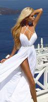 beach wedding bridaldresses - 2016 Sexy Beach Wedding Dresses Plunging V Neck Crossed Straps Open Back Beaded Waist Thigh Slit Summer Bridal Dresses Chiffon BridalDresses